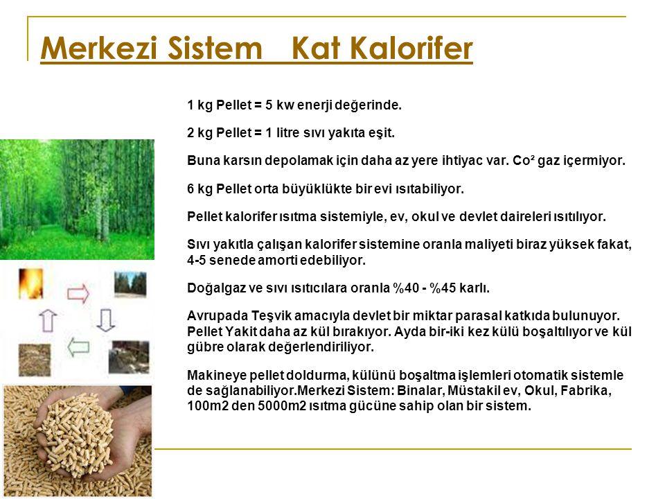 Merkezi Sistem Kat Kalorifer 1 kg Pellet = 5 kw enerji değerinde. 2 kg Pellet = 1 litre sıvı yakıta eşit. Buna karsın depolamak için daha az yere ihti
