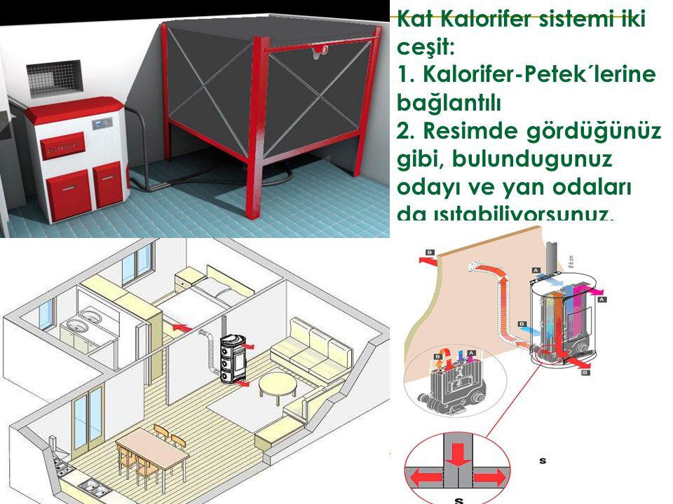 Kat Kalorifer sistemi iki ceşit: 1. Kalorifer-Petek´lerine bağlantılı 2. Resimde gördüğünüz gibi, bulundugunuz odayı ve yan odaları da ısıtabiliyorsun