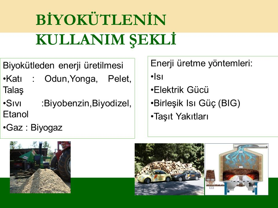 BİYOKÜTLENİN KULLANIM ŞEKLİ Biyokütleden enerji üretilmesi Katı : Odun,Yonga, Pelet, Talaş Sıvı :Biyobenzin,Biyodizel, Etanol Gaz : Biyogaz Enerji üre