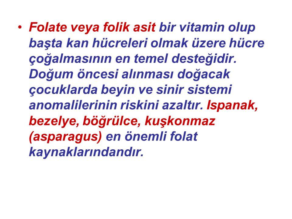 Folate veya folik asit bir vitamin olup başta kan hücreleri olmak üzere hücre çoğalmasının en temel desteğidir. Doğum öncesi alınması doğacak çocuklar