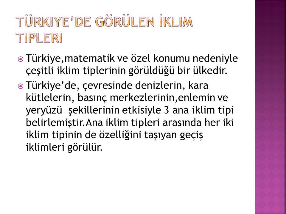  Türkiye,matematik ve özel konumu nedeniyle çeşitli iklim tiplerinin görüldüğü bir ülkedir.  Türkiye'de, çevresinde denizlerin, kara kütlelerin, bas