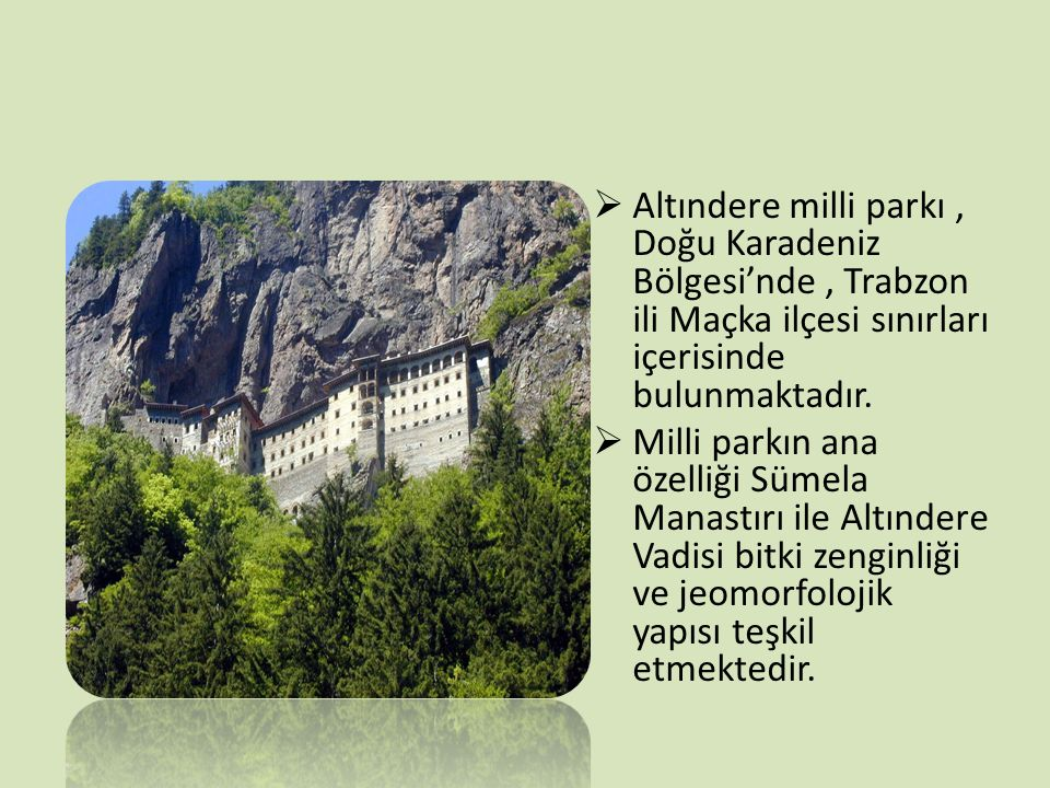  Altındere milli parkı, Doğu Karadeniz Bölgesi'nde, Trabzon ili Maçka ilçesi sınırları içerisinde bulunmaktadır.  Milli parkın ana özelliği Sümela M