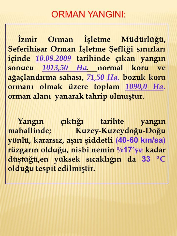 İzmir Orman İşletme Müdürlüğü, Seferihisar Orman İşletme Şefliği sınırları içinde 10.08.2009 tarihinde çıkan yangın sonucu 1013,50 Ha. normal koru ve