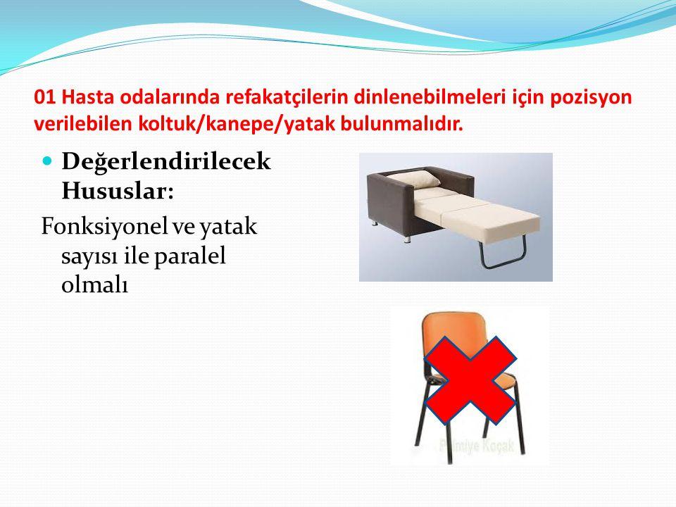 01 Hasta odalarında refakatçilerin dinlenebilmeleri için pozisyon verilebilen koltuk/kanepe/yatak bulunmalıdır. Değerlendirilecek Hususlar: Fonksiyone