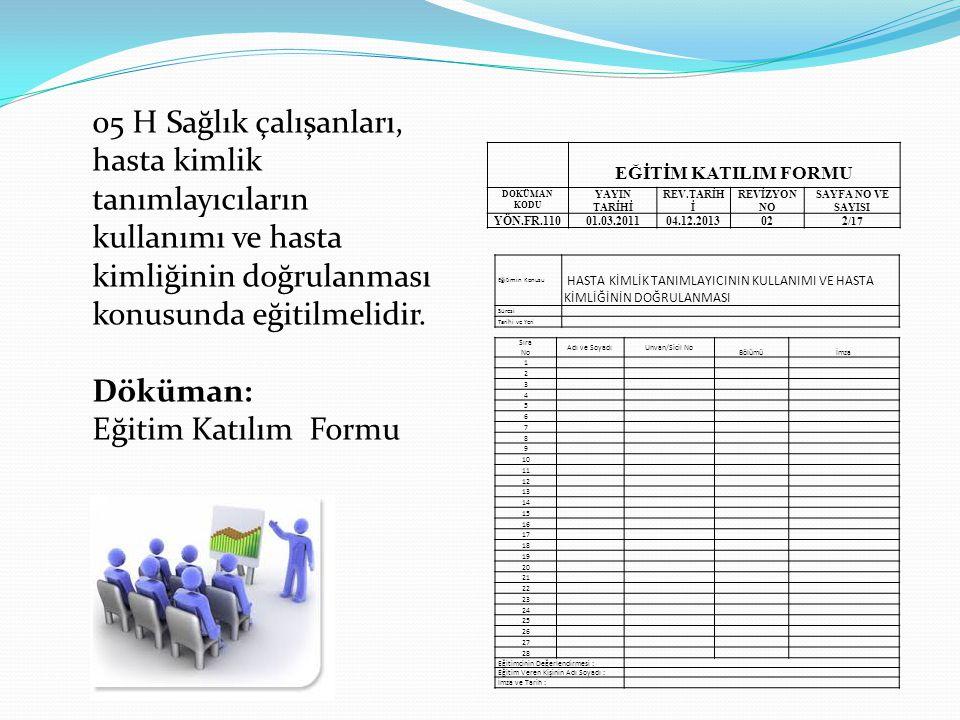 05 H Sağlık çalışanları, hasta kimlik tanımlayıcıların kullanımı ve hasta kimliğinin doğrulanması konusunda eğitilmelidir. Döküman: Eğitim Katılım For