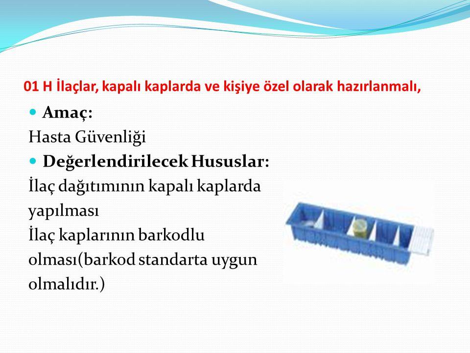 01 H İlaçlar, kapalı kaplarda ve kişiye özel olarak hazırlanmalı, Amaç: Hasta Güvenliği Değerlendirilecek Hususlar: İlaç dağıtımının kapalı kaplarda y