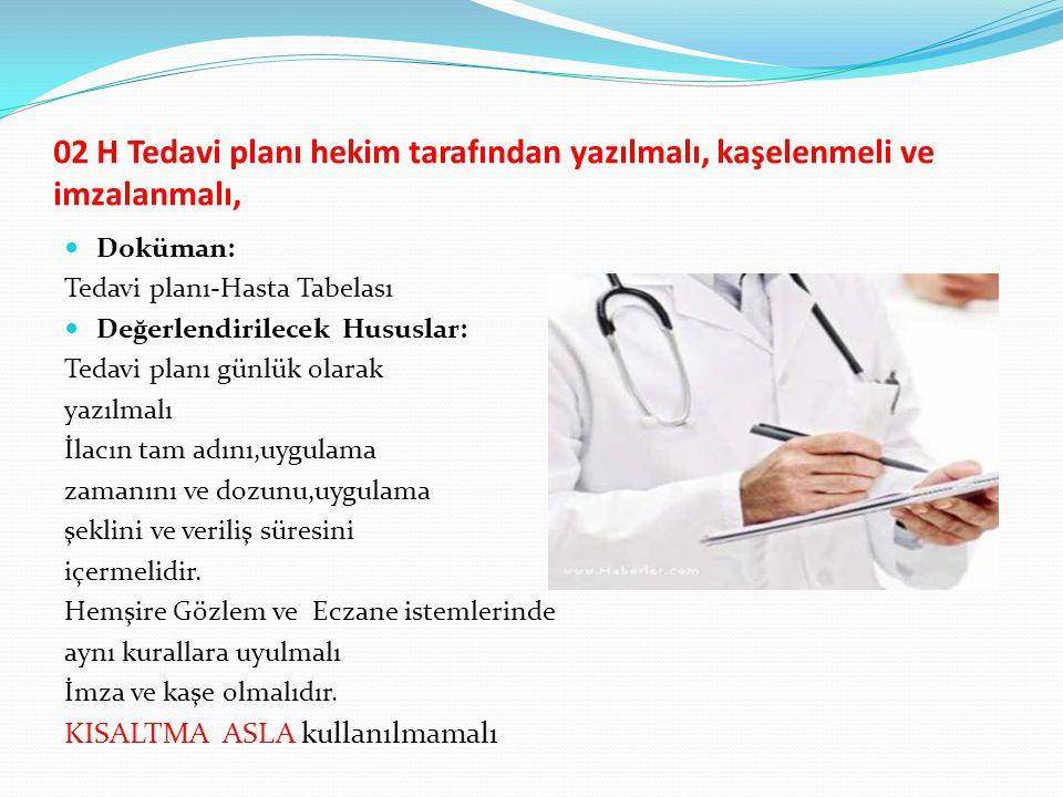 02 H Tedavi planı hekim tarafından yazılmalı, kaşelenmeli ve imzalanmalı, Doküman: Tedavi planı-Hasta Tabelası Değerlendirilecek Hususlar: Tedavi plan