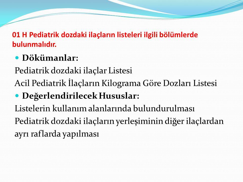 01 H Pediatrik dozdaki ilaçların listeleri ilgili bölümlerde bulunmalıdır. Dökümanlar: Pediatrik dozdaki ilaçlar Listesi Acil Pediatrik İlaçların Kilo