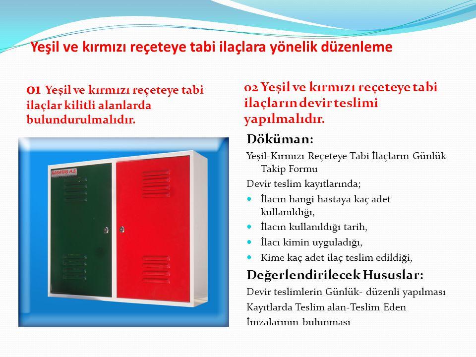 Yeşil ve kırmızı reçeteye tabi ilaçlara yönelik düzenleme 01 Yeşil ve kırmızı reçeteye tabi ilaçlar kilitli alanlarda bulundurulmalıdır. 02 Yeşil ve k