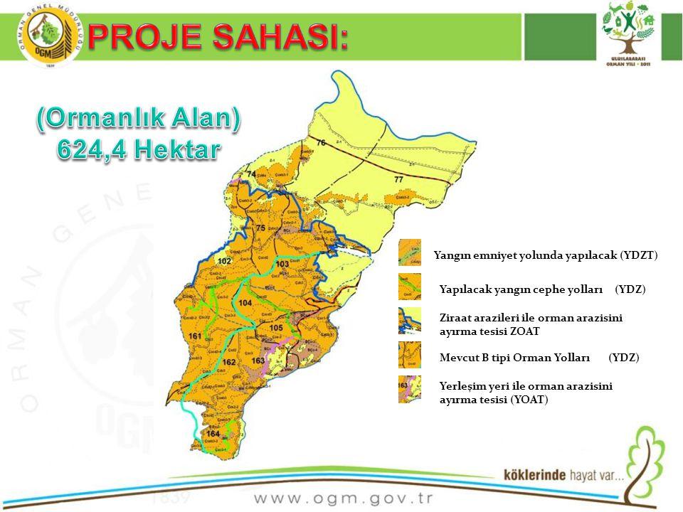 Yangın emniyet yolunda yapılacak (YDZT) Yapılacak yangın cephe yolları (YDZ) Ziraat arazileri ile orman arazisini ayırma tesisi ZOAT Mevcut B tipi Orm