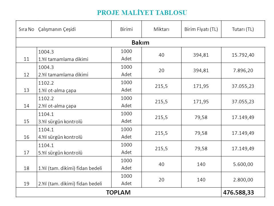 Sıra NoÇalışmanın ÇeşidiBirimiMiktarıBirim Fiyatı (TL)Tutarı (TL) Bakım 11 1004.3 1.Yıl tamamlama dikimi 1000 Adet 40394,8115.792,40 12 1004.3 2.Yıl t