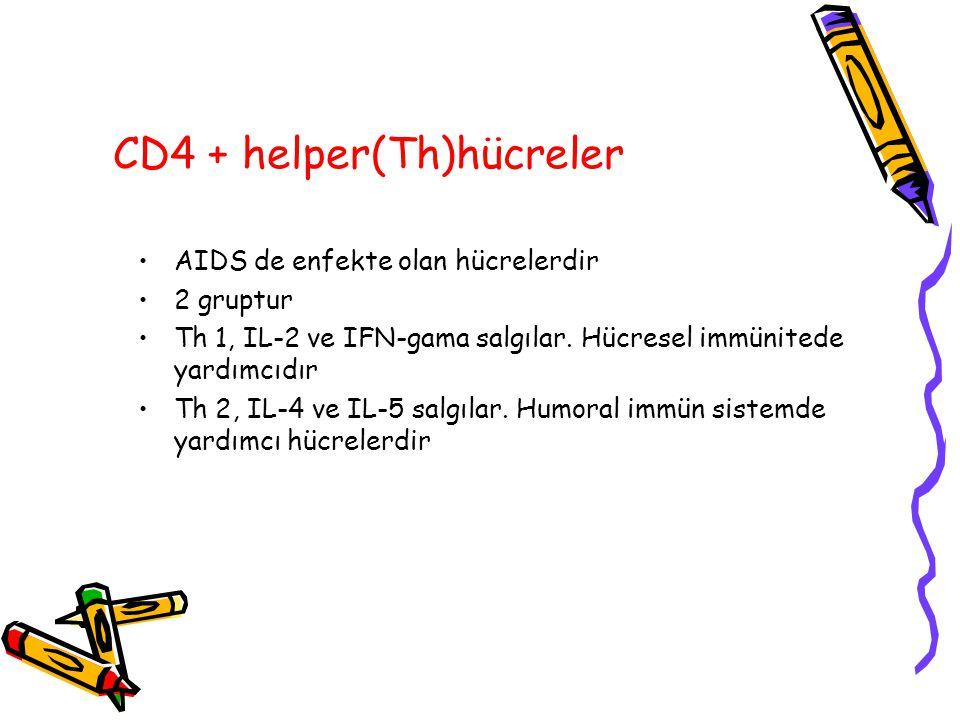 CD4 + helper(Th)hücreler AIDS de enfekte olan hücrelerdir 2 gruptur Th 1, IL-2 ve IFN-gama salgılar. Hücresel immünitede yardımcıdır Th 2, IL-4 ve IL-