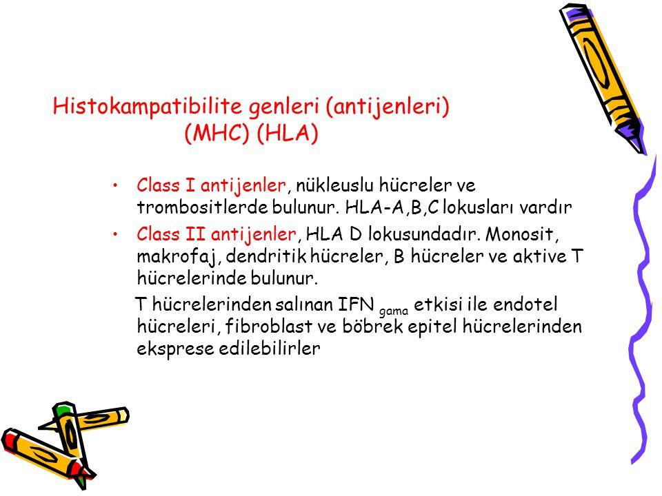 Histokampatibilite genleri (antijenleri) (MHC) (HLA) Class I antijenler, nükleuslu hücreler ve trombositlerde bulunur. HLA-A,B,C lokusları vardır Clas