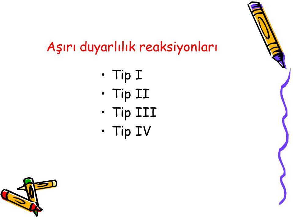 Aşırı duyarlılık reaksiyonları Tip I Tip II Tip III Tip IV