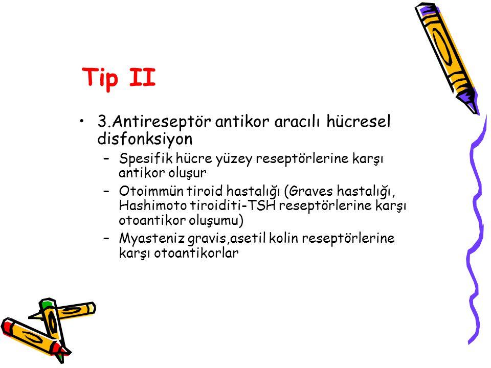 Tip II 3.Antireseptör antikor aracılı hücresel disfonksiyon –Spesifik hücre yüzey reseptörlerine karşı antikor oluşur –Otoimmün tiroid hastalığı (Grav