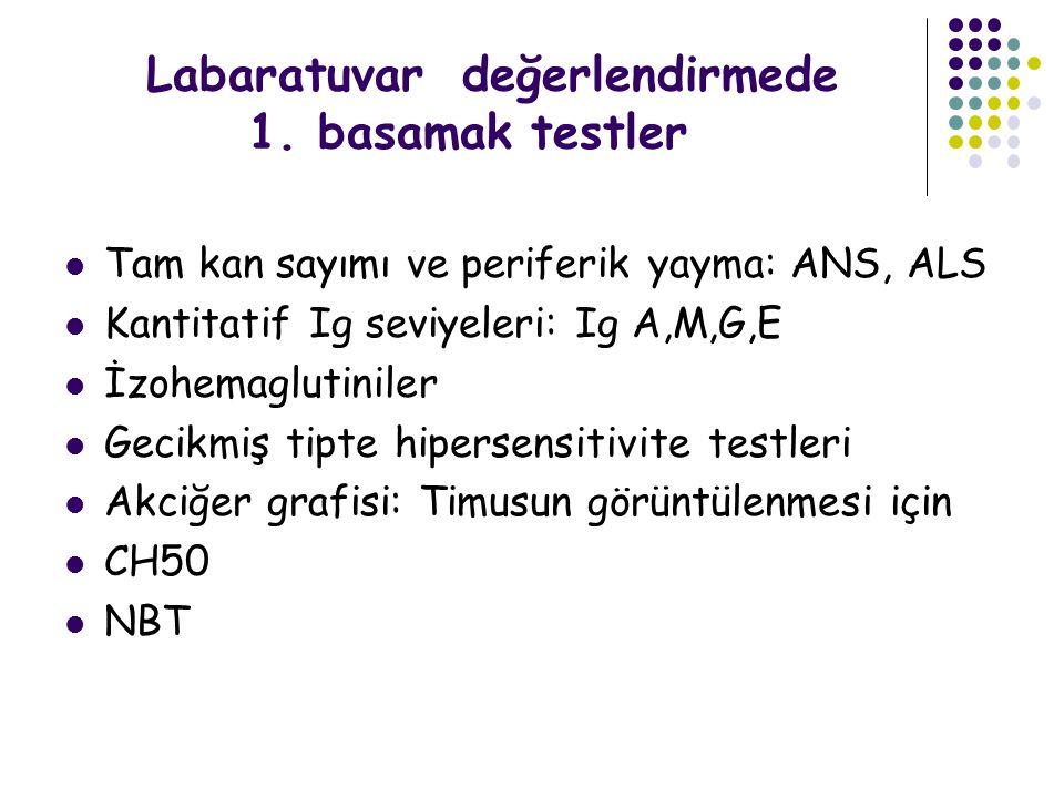 Labaratuvar değerlendirmede 1. basamak testler Tam kan sayımı ve periferik yayma: ANS, ALS Kantitatif Ig seviyeleri: Ig A,M,G,E İzohemaglutiniler Geci