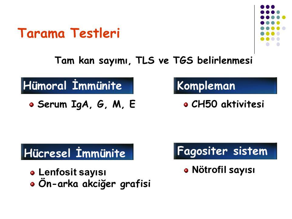 Tarama Testleri Hümoral İmmünite Serum IgA, G, M, E Kompleman CH50 aktivitesi Hücresel İmmünite Lenfosit sayısı Ön-arka akciğer grafisi Fagositer sist