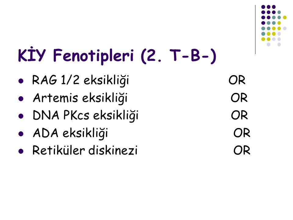 KİY Fenotipleri (2. T-B-) RAG 1/2 eksikliği OR Artemis eksikliği OR DNA PKcs eksikliği OR ADA eksikliği OR Retiküler diskinezi OR