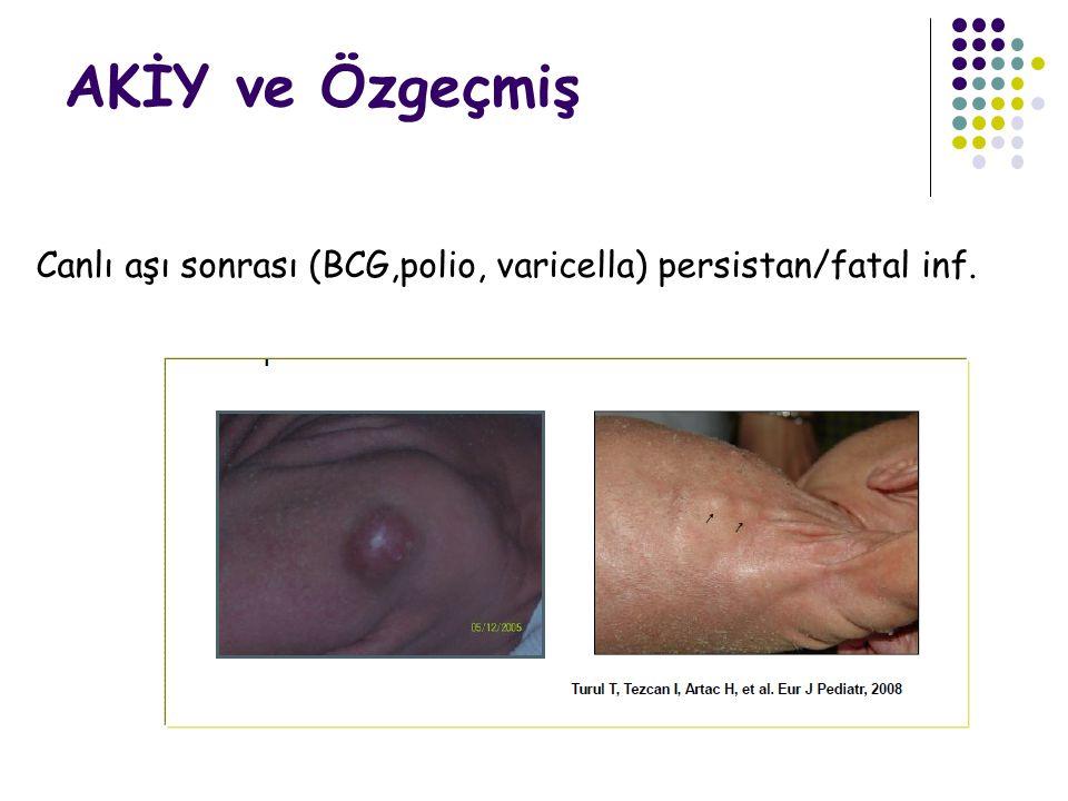 AKİY ve Özgeçmiş Canlı aşı sonrası (BCG,polio, varicella) persistan/fatal inf.