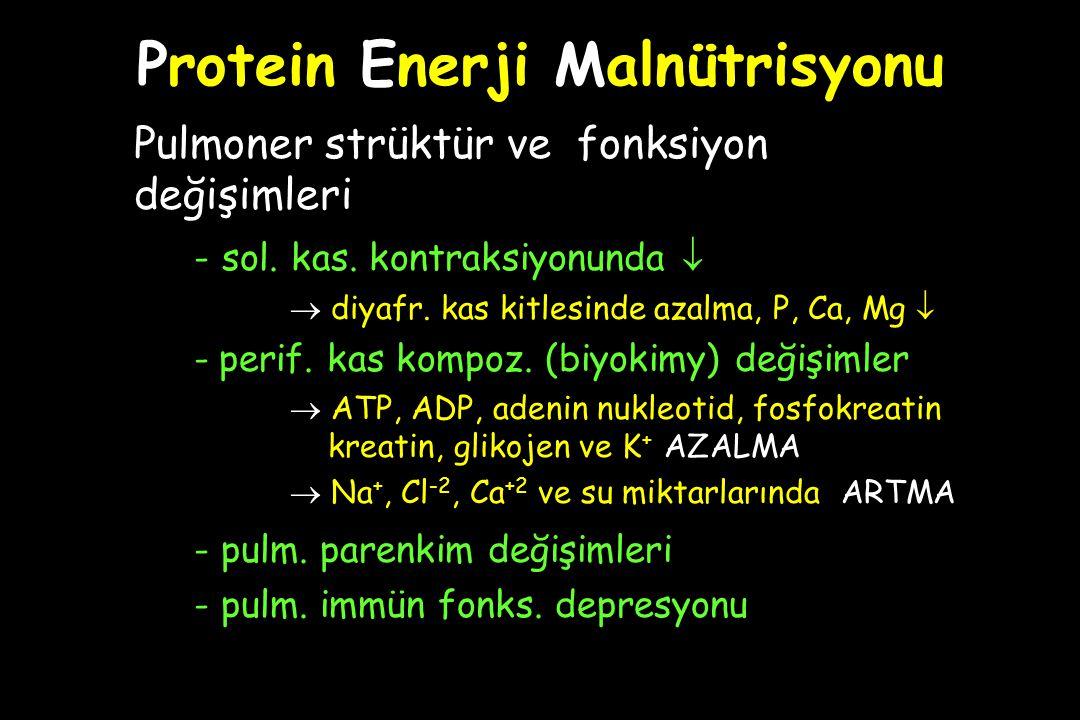 Protein Enerji Malnütrisyonu Pulmoner strüktür ve fonksiyon değişimleri - sol. kas. kontraksiyonunda   diyafr. kas kitlesinde azalma, P, Ca, Mg  -
