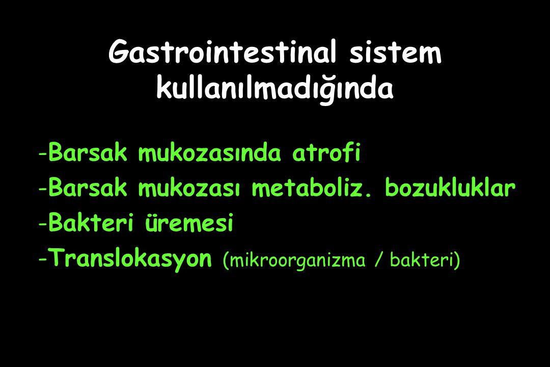 Gastrointestinal sistem kullanılmadığında -Barsak mukozasında atrofi -Barsak mukozası metaboliz. bozukluklar -Bakteri üremesi -Translokasyon (mikroorg