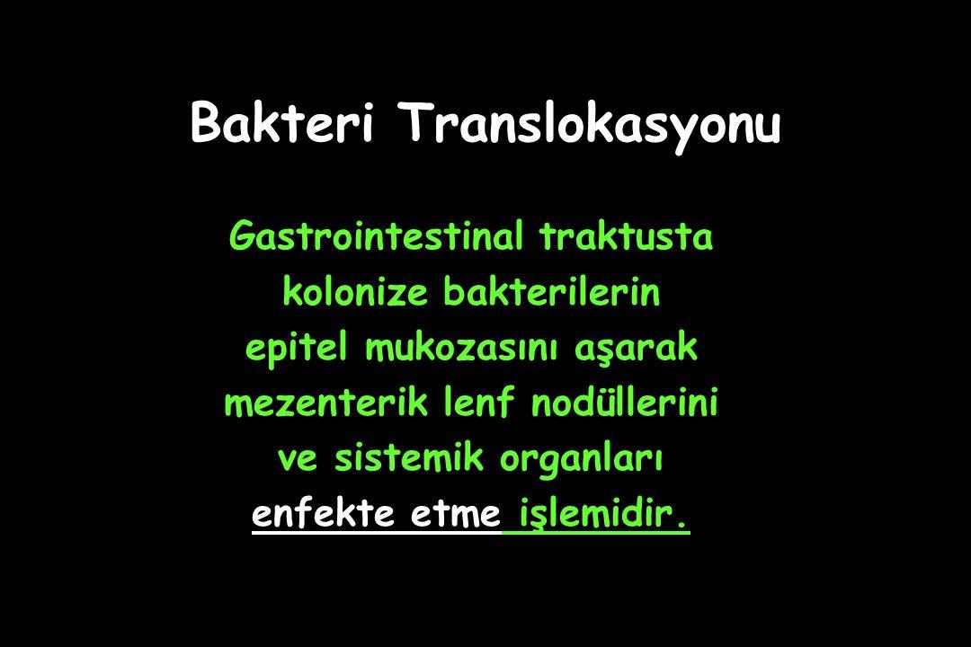 Bakteri Translokasyonu Gastrointestinal traktusta kolonize bakterilerin epitel mukozasını aşarak mezenterik lenf nodüllerini ve sistemik organları enfekte etme işlemidir.