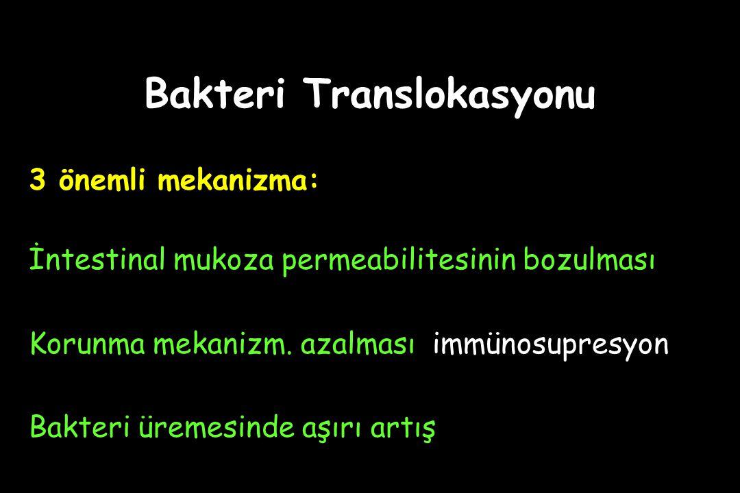 Bakteri Translokasyonu 3 önemli mekanizma: İntestinal mukoza permeabilitesinin bozulması Korunma mekanizm. azalması immünosupresyon Bakteri üremesinde