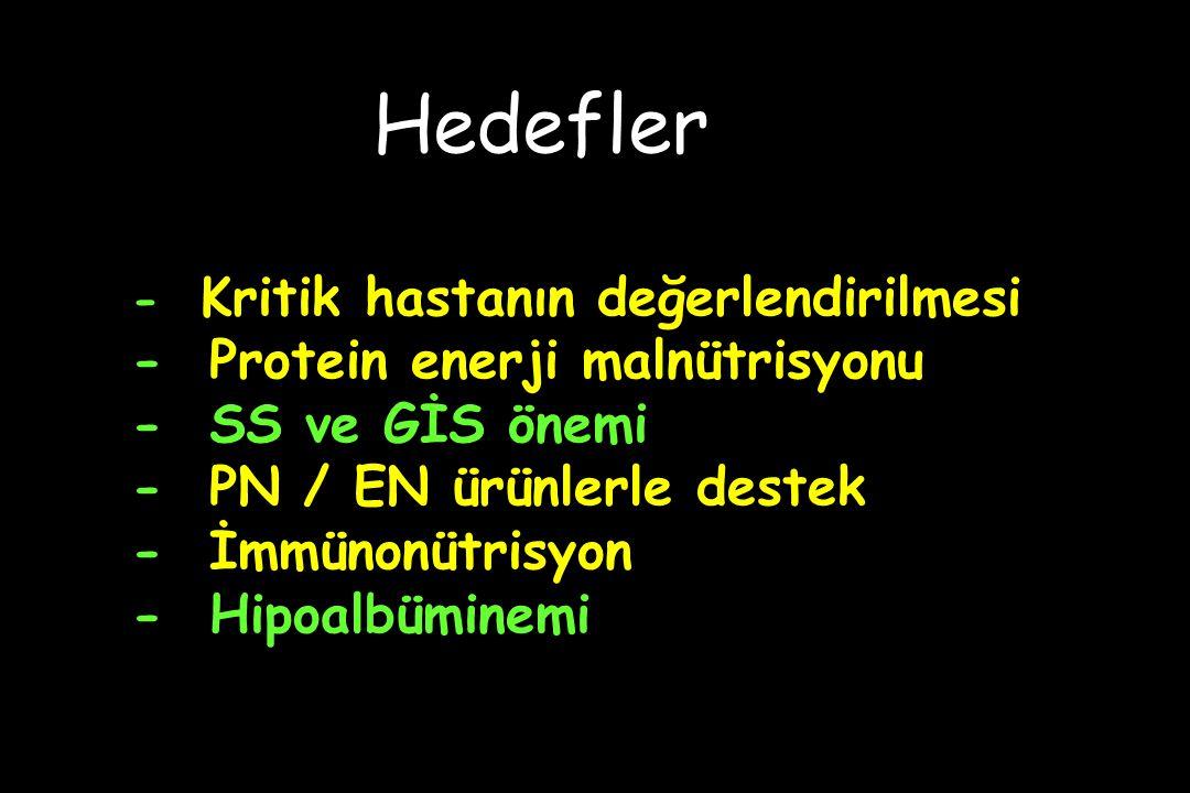- Kritik hastanın değerlendirilmesi - Protein enerji malnütrisyonu - SS ve GİS önemi - PN / EN ürünlerle destek - İmmünonütrisyon - Hipoalbüminemi Hedefler