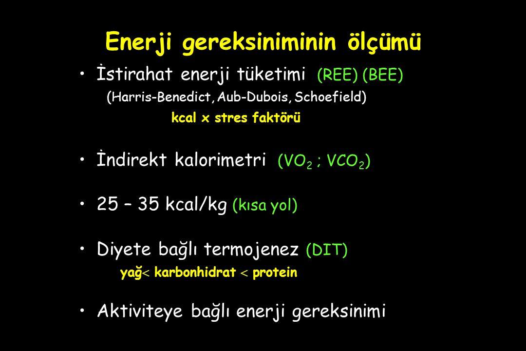 Enerji gereksiniminin ölçümü İstirahat enerji tüketimi (REE) (BEE) (Harris-Benedict, Aub-Dubois, Schoefield) kcal x stres faktörü İndirekt kalorimetri (VO 2 ; VCO 2 ) 25 – 35 kcal/kg (kısa yol) Diyete bağlı termojenez (DIT) yağ  karbonhidrat  protein Aktiviteye bağlı enerji gereksinimi