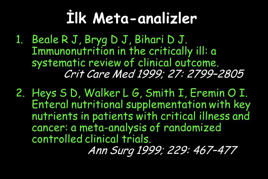 İlk Meta-analizler 1.Beale R J, Bryg D J, Bihari D J.