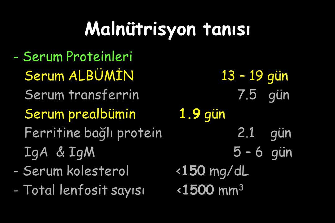 Malnütrisyon tanısı - Serum Proteinleri Serum ALBÜMİN13 – 19 gün Serum transferrin 7.5 gün Serum prealbümin 1.9 gün Ferritine bağlı protein 2.1 gün IgA & IgM 5 – 6 gün - Serum kolesterol <150 mg/dL - Total lenfosit sayısı <1500 mm 3