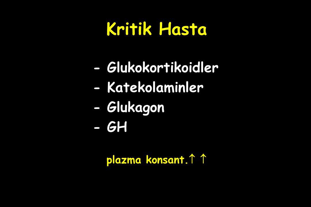 Kritik Hasta - Glukokortikoidler - Katekolaminler - Glukagon - GH plazma konsant.  