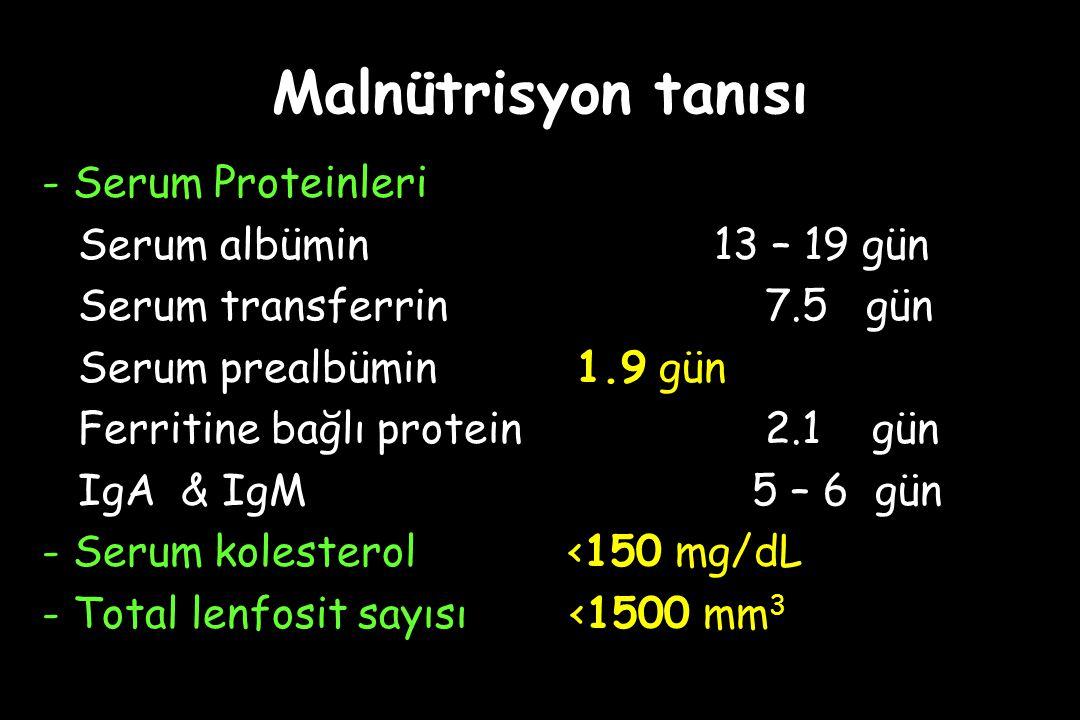 Malnütrisyon tanısı - Serum Proteinleri Serum albümin13 – 19 gün Serum transferrin 7.5 gün Serum prealbümin 1.9 gün Ferritine bağlı protein 2.1 gün IgA & IgM 5 – 6 gün - Serum kolesterol <150 mg/dL - Total lenfosit sayısı <1500 mm 3