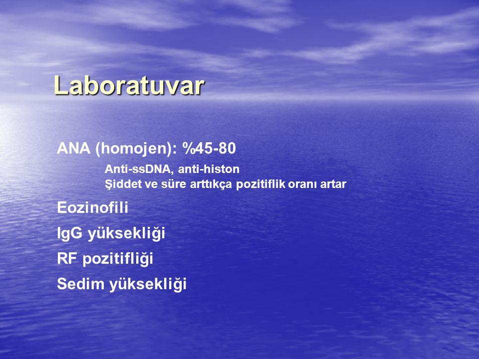 Laboratuvar ANA (homojen): %45-80 Anti-ssDNA, anti-histon Şiddet ve süre arttıkça pozitiflik oranı artar Eozinofili IgG yüksekliği RF pozitifliği Sedi