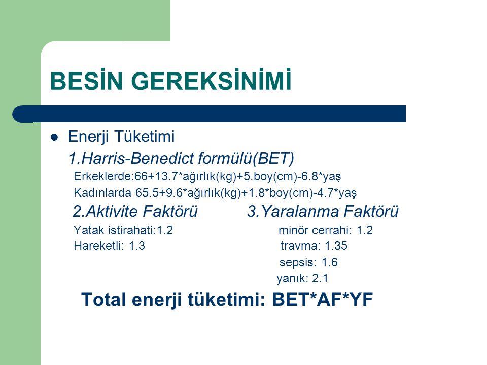 BESİN GEREKSİNİMİ Enerji Tüketimi 1.Harris-Benedict formülü(BET) Erkeklerde:66+13.7*ağırlık(kg)+5.boy(cm)-6.8*yaş Kadınlarda 65.5+9.6*ağırlık(kg)+1.8*