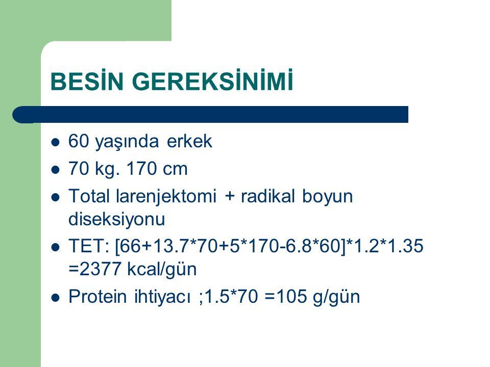 BESİN GEREKSİNİMİ 60 yaşında erkek 70 kg. 170 cm Total larenjektomi + radikal boyun diseksiyonu TET: [66+13.7*70+5*170-6.8*60]*1.2*1.35 =2377 kcal/gün