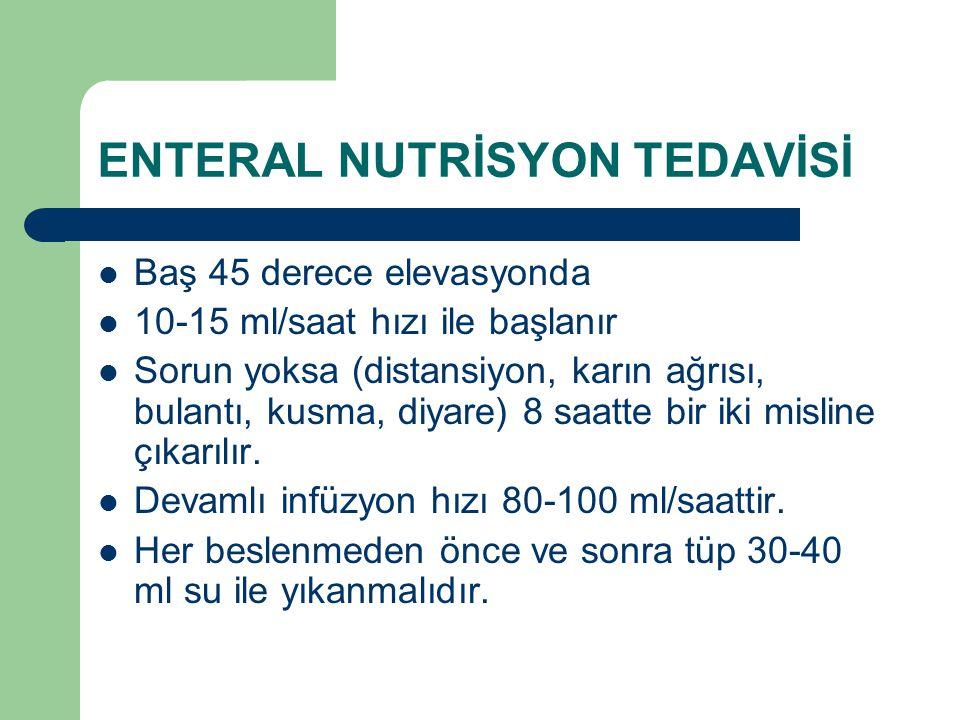 ENTERAL NUTRİSYON TEDAVİSİ Baş 45 derece elevasyonda 10-15 ml/saat hızı ile başlanır Sorun yoksa (distansiyon, karın ağrısı, bulantı, kusma, diyare) 8