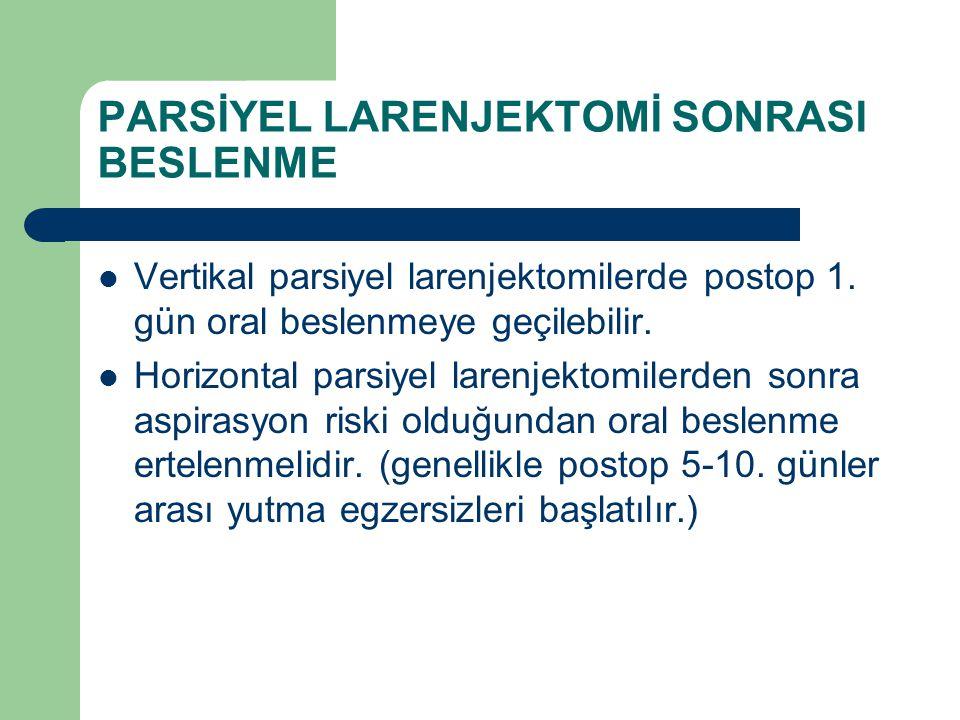 PARSİYEL LARENJEKTOMİ SONRASI BESLENME Vertikal parsiyel larenjektomilerde postop 1. gün oral beslenmeye geçilebilir. Horizontal parsiyel larenjektomi