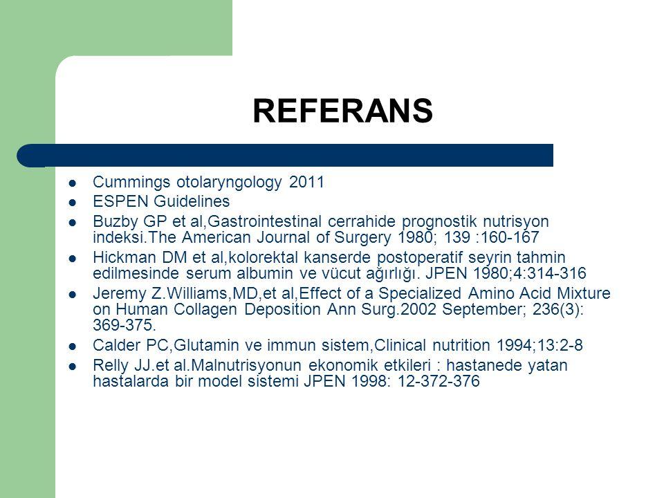 REFERANS Cummings otolaryngology 2011 ESPEN Guidelines Buzby GP et al,Gastrointestinal cerrahide prognostik nutrisyon indeksi.The American Journal of