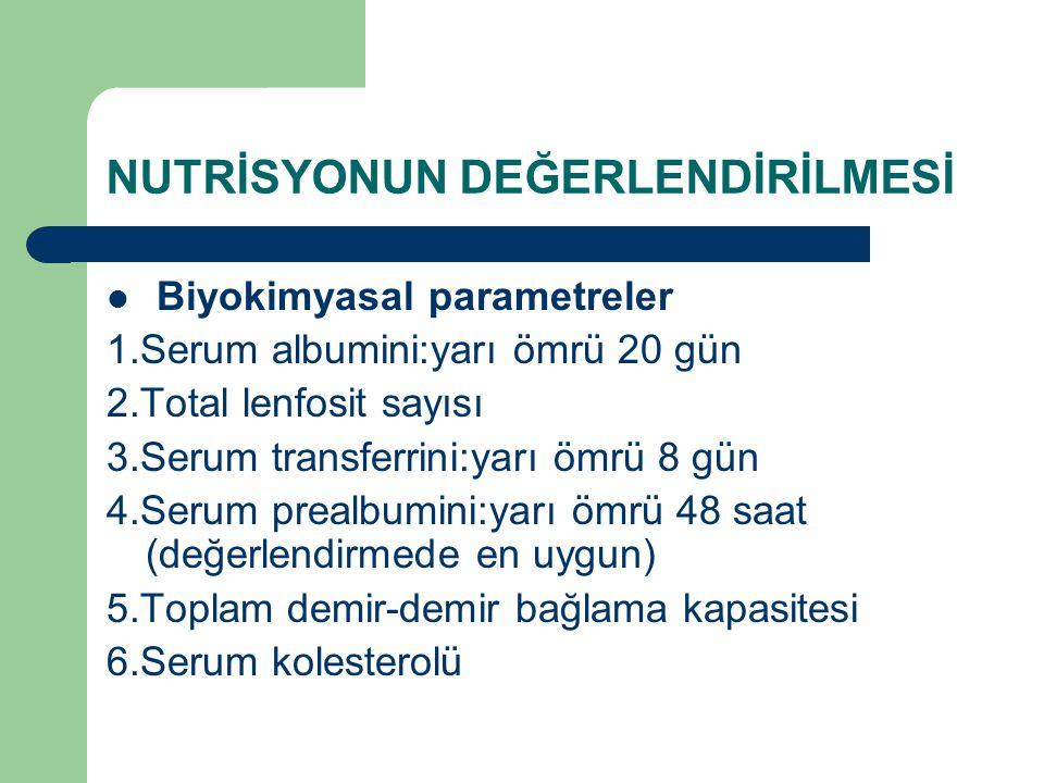 NUTRİSYONUN DEĞERLENDİRİLMESİ Biyokimyasal parametreler 1.Serum albumini:yarı ömrü 20 gün 2.Total lenfosit sayısı 3.Serum transferrini:yarı ömrü 8 gün