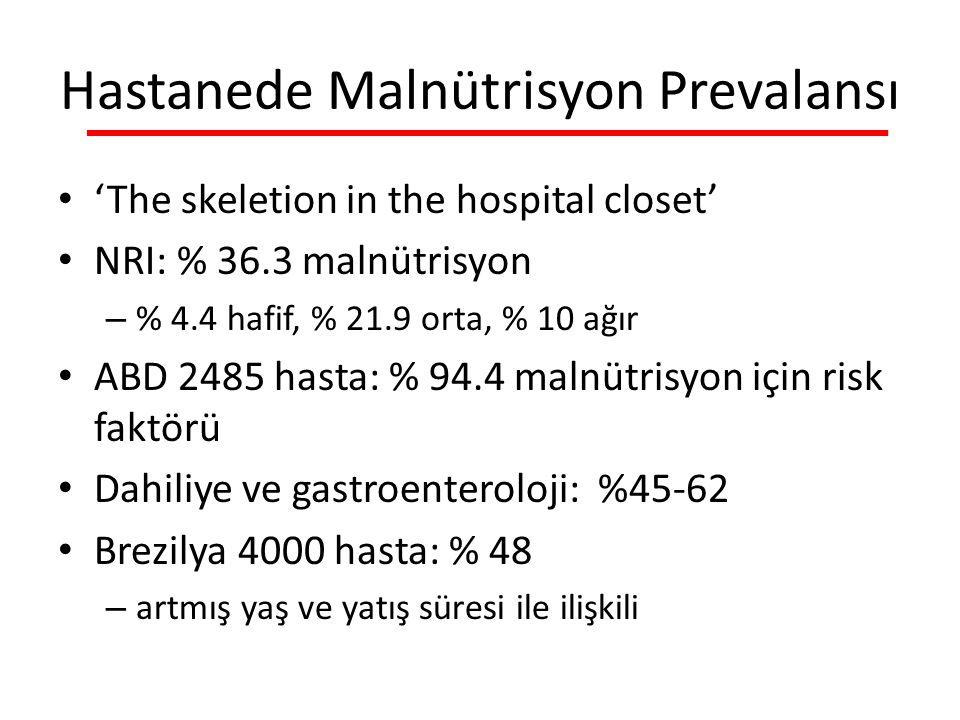 Hastanede Malnütrisyon Prevalansı 'The skeletion in the hospital closet' NRI: % 36.3 malnütrisyon – % 4.4 hafif, % 21.9 orta, % 10 ağır ABD 2485 hasta: % 94.4 malnütrisyon için risk faktörü Dahiliye ve gastroenteroloji: %45-62 Brezilya 4000 hasta: % 48 – artmış yaş ve yatış süresi ile ilişkili