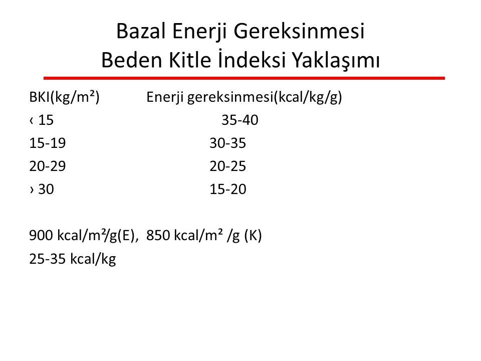 Bazal Enerji Gereksinmesi Beden Kitle İndeksi Yaklaşımı BKI(kg/m²) Enerji gereksinmesi(kcal/kg/g) ‹ 1535-40 15-19 30-35 20-29 20-25 › 30 15-20 900 kcal/m²/g(E), 850 kcal/m² /g (K) 25-35 kcal/kg