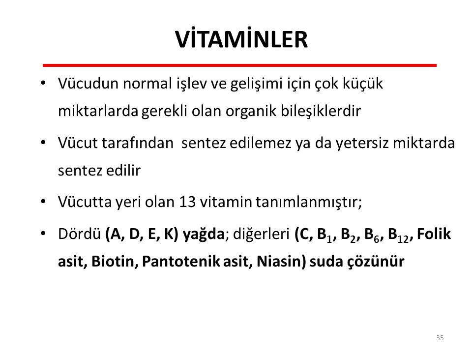 VİTAMİNLER Vücudun normal işlev ve gelişimi için çok küçük miktarlarda gerekli olan organik bileşiklerdir Vücut tarafından sentez edilemez ya da yetersiz miktarda sentez edilir Vücutta yeri olan 13 vitamin tanımlanmıştır; Dördü (A, D, E, K) yağda; diğerleri (C, B 1, B 2, B 6, B 12, Folik asit, Biotin, Pantotenik asit, Niasin) suda çözünür 35