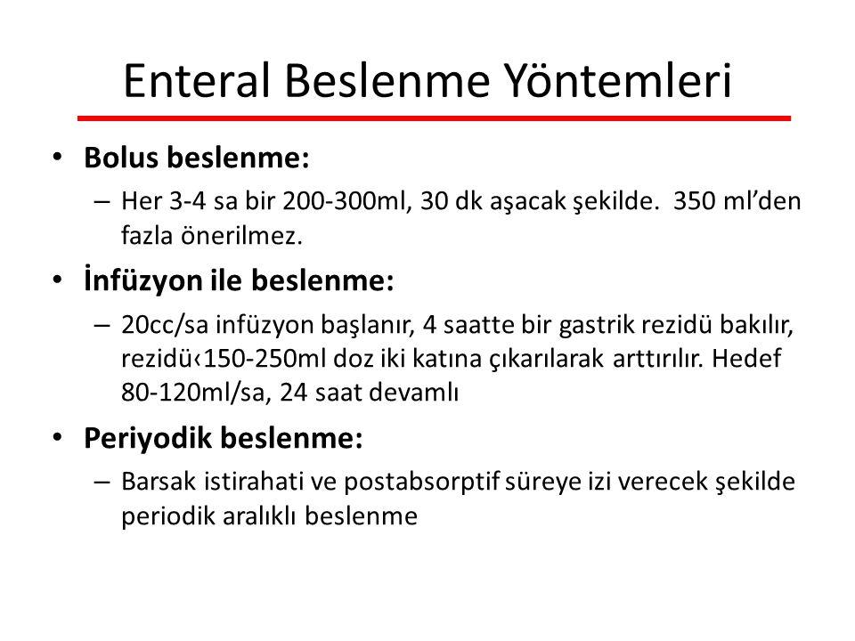 Enteral Beslenme Yöntemleri Bolus beslenme: – Her 3-4 sa bir 200-300ml, 30 dk aşacak şekilde.