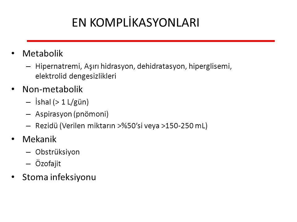 EN KOMPLİKASYONLARI Metabolik – Hipernatremi, Aşırı hidrasyon, dehidratasyon, hiperglisemi, elektrolid dengesizlikleri Non-metabolik – İshal (> 1 L/gün) – Aspirasyon (pnömoni) – Rezidü (Verilen miktarın >%50'si veya >150-250 mL) Mekanik – Obstrüksiyon – Özofajit Stoma infeksiyonu