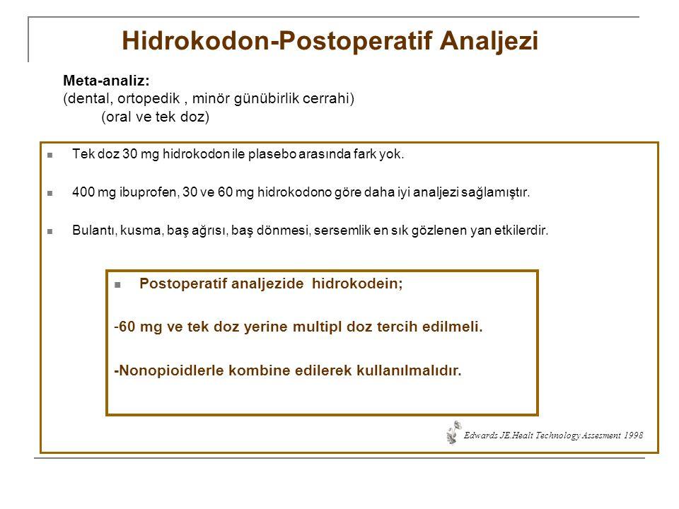 Hidrokodon-Postoperatif Analjezi Tek doz 30 mg hidrokodon ile plasebo arasında fark yok. 400 mg ibuprofen, 30 ve 60 mg hidrokodono göre daha iyi analj