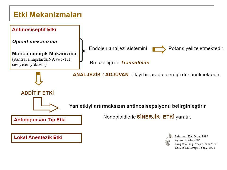 Endojen analjezi sisteminiPotansiyelize etmektedir. Bu özelliği ile Tramadolün ANALJEZİK / ADJUVAN etkiyi bir arada içerdiği düşünülmektedir. ADDİTİF