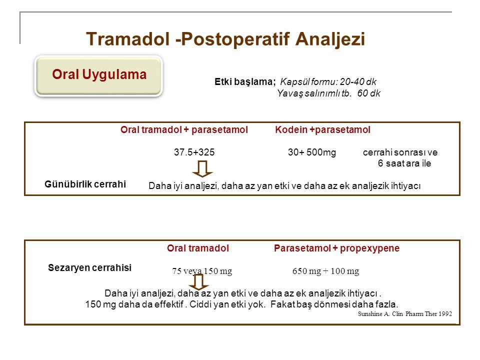 Tramadol -Postoperatif Analjezi Oral Uygulama Oral tramadol + parasetamol Kodein +parasetamol 37.5+325 30+ 500mg cerrahi sonrası ve 6 saat ara ile Dah