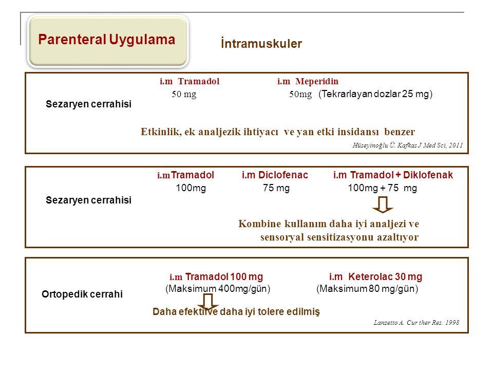 Parenteral Uygulama İntramuskuler i.m Tramadol i.m Meperidin 50 mg 50mg (Tekrarlayan dozlar 25 mg) Etkinlik, ek analjezik ihtiyacı ve yan etki insidan