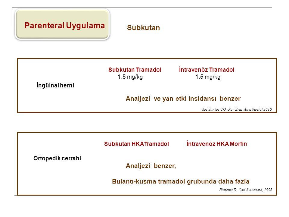 Parenteral Uygulama Subkutan Subkutan Tramadol İntravenöz Tramadol 1.5 mg/kg 1.5 mg/kg Analjezi ve yan etki insidansı benzer İngüinal herni Subkutan H